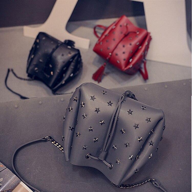 2017 New Hot Fashion Women Female Casual Solid Color Tassels Rivet Drawstring Bucket Bag Handbags Shoulder