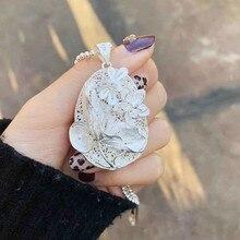 Women Silver Pendant Flowers Handmade Ethnic Boho Jewelry 999 Sterling Big Necklace Luxury Accessories