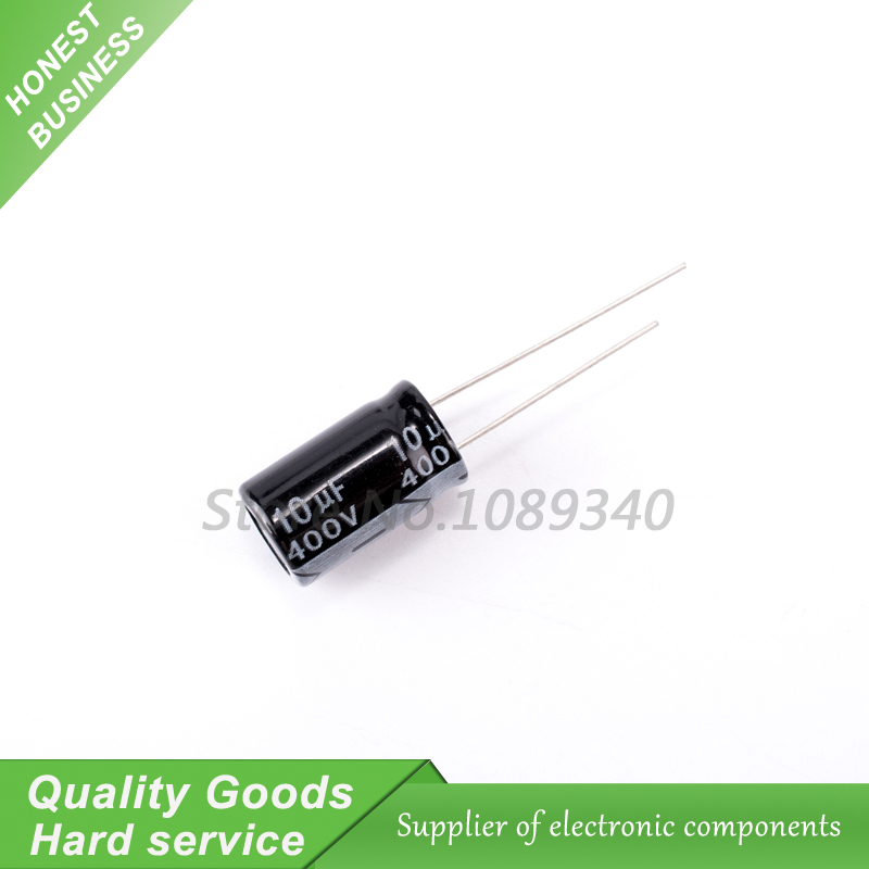 10PCS 400V10UF 10*17mm <font><b>10UF</b></font> <font><b>400V</b></font> 10*17 Aluminum electrolytic capacitor image
