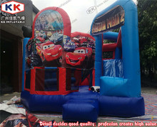 Inflatable Double Slide Equipment, Inflatable Cartoon Dry Slide With Bouncy Combo