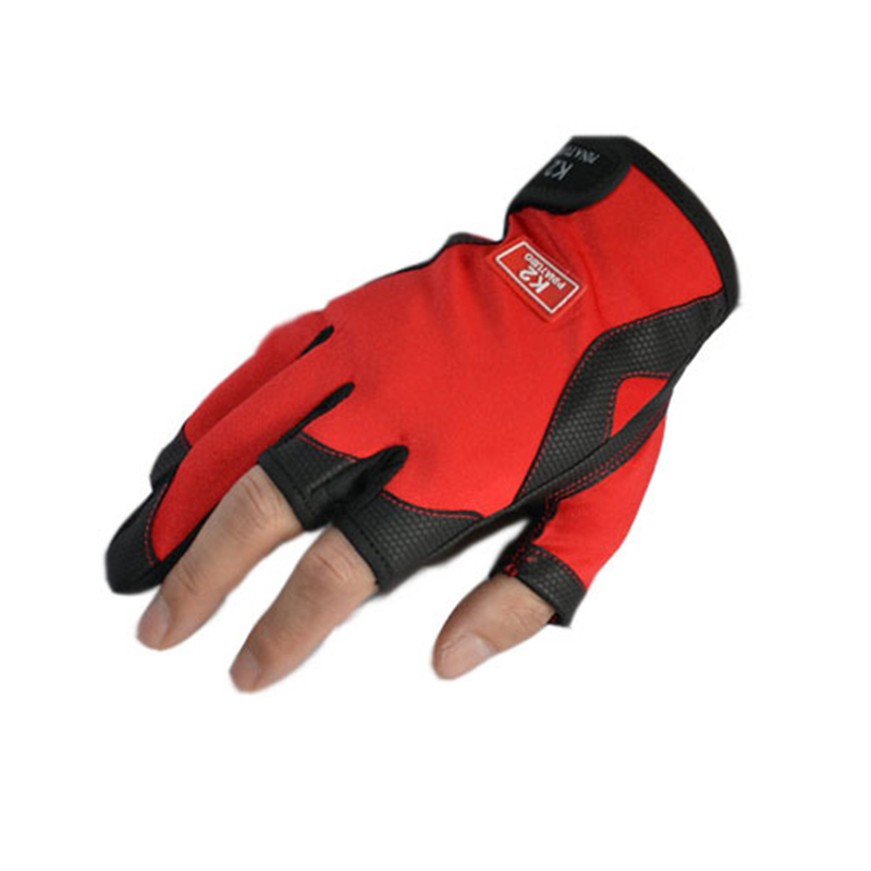 2017NEW three fingers fishing gloves anti-slip outdoor sports red fishing gloves
