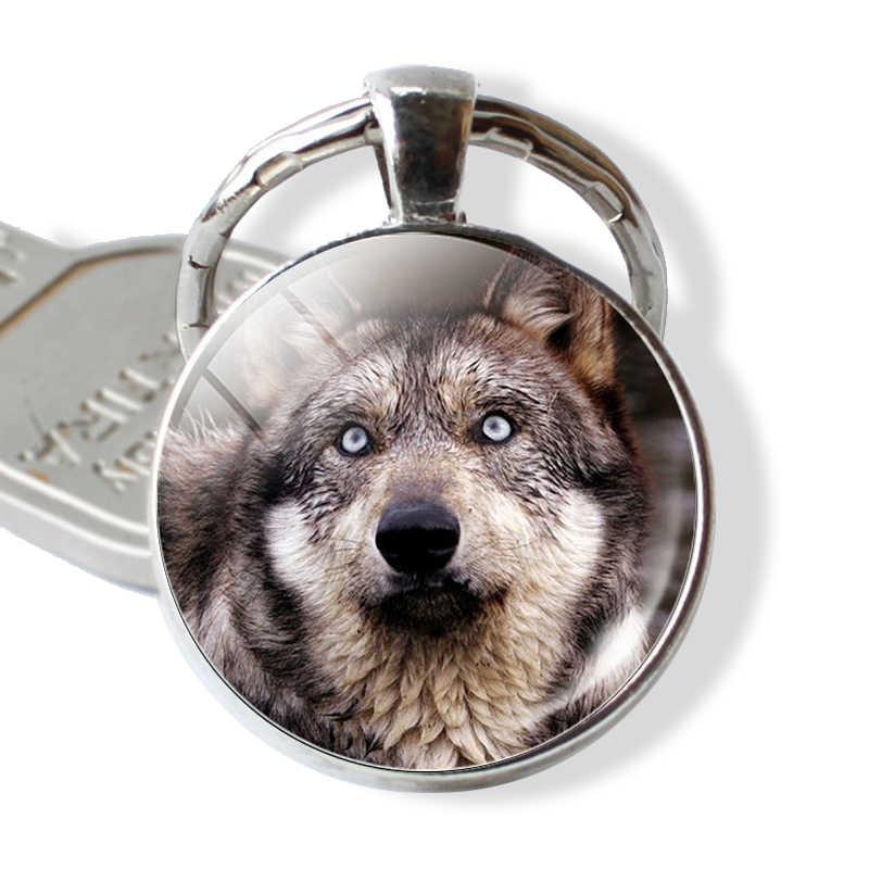 Presentes de porta-chaves de cabochão de vidro dos homens do chaveiro do lobo & da lua do vintage