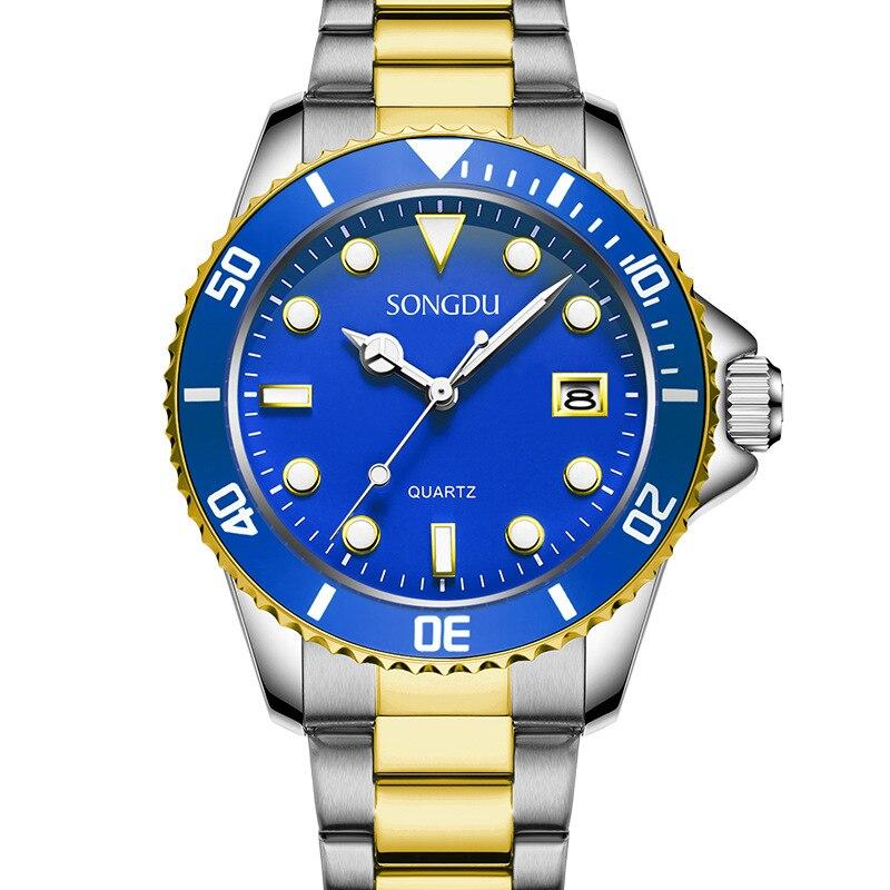 SONGDU fashion brand men watches leisure sports luxury dial calendar Steel strap waterproof male quartz watch