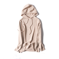 cashmere wool blend women fashion hooded sweatshirts pullover tie collar sky blue 2color one size