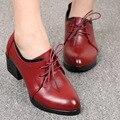 2016 Outono Genuína Sapatos de Couro Preto Mulher De Salto Alto Grosso Rendas Até Plataforma Feminina Sapatos Casuais Sapatos Única das Mulheres bombas