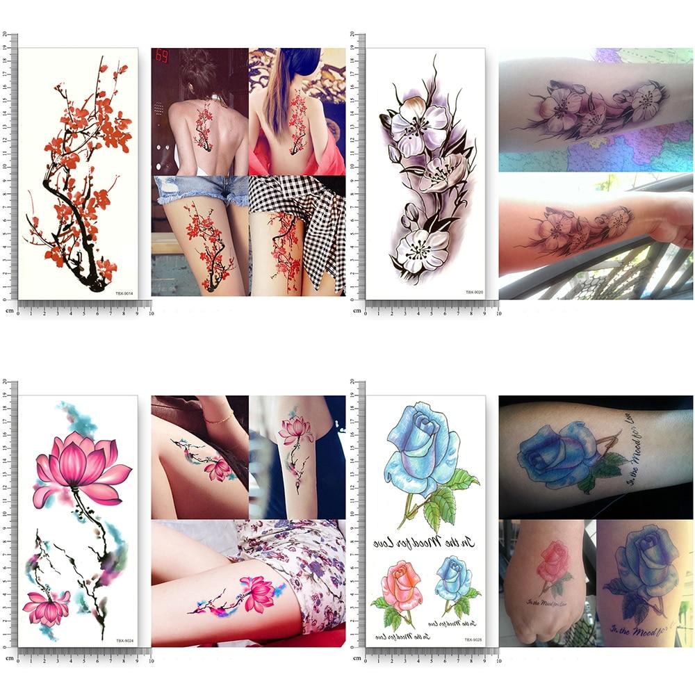Купить с кэшбэком 16 sheets waterproof temporary tattoo water transfer flower stickers beauty health body arm art women girl female sexy makeup