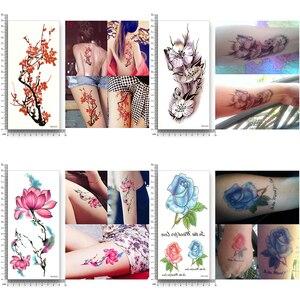 Image 5 - 16 листов водонепроницаемые Временные татуировки переводные Цветочные наклейки Красота Здоровье Декорации для тела, рук для женщин и девочек Сексуальный макияж