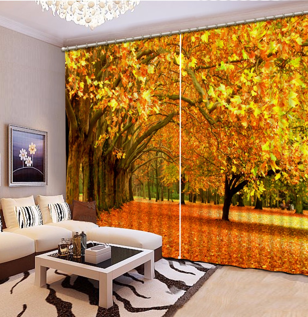 Custom Printing Curtains autumn scenery Curtains For Living Room 3D Bedroom Dapes Window Curtains Blackout Custom Printing Curtains autumn scenery Curtains For Living Room 3D Bedroom Dapes Window Curtains Blackout
