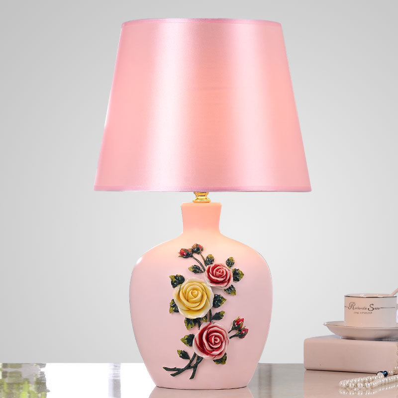 Tuda Free Shipping Resintable Lamp Carved Calla Lily Rose Painting