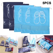 5Pcs/Set Thick Travel Storage Shoe Bag Portable Organizer Tote with Drawstring TY53