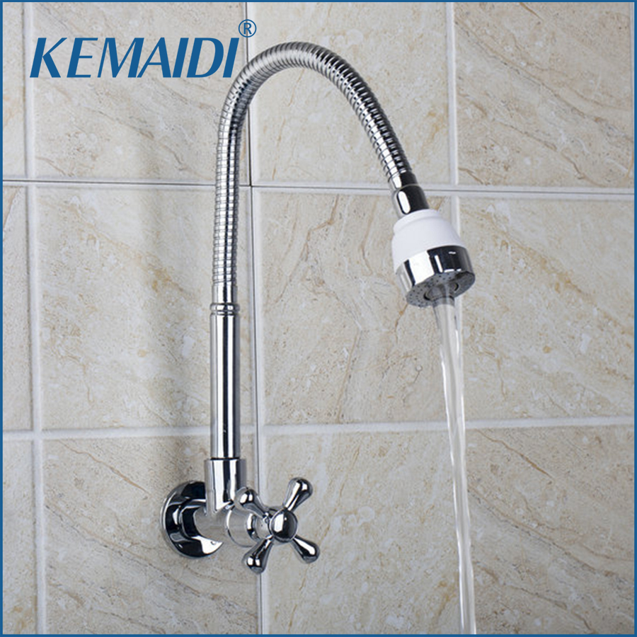 online get cheap wall mount kitchen sink faucet aliexpress com kemaidi kitchen sink chrome wall mounted rq8551 4a contemporary single cold all around rotate swivel vessel sink faucet