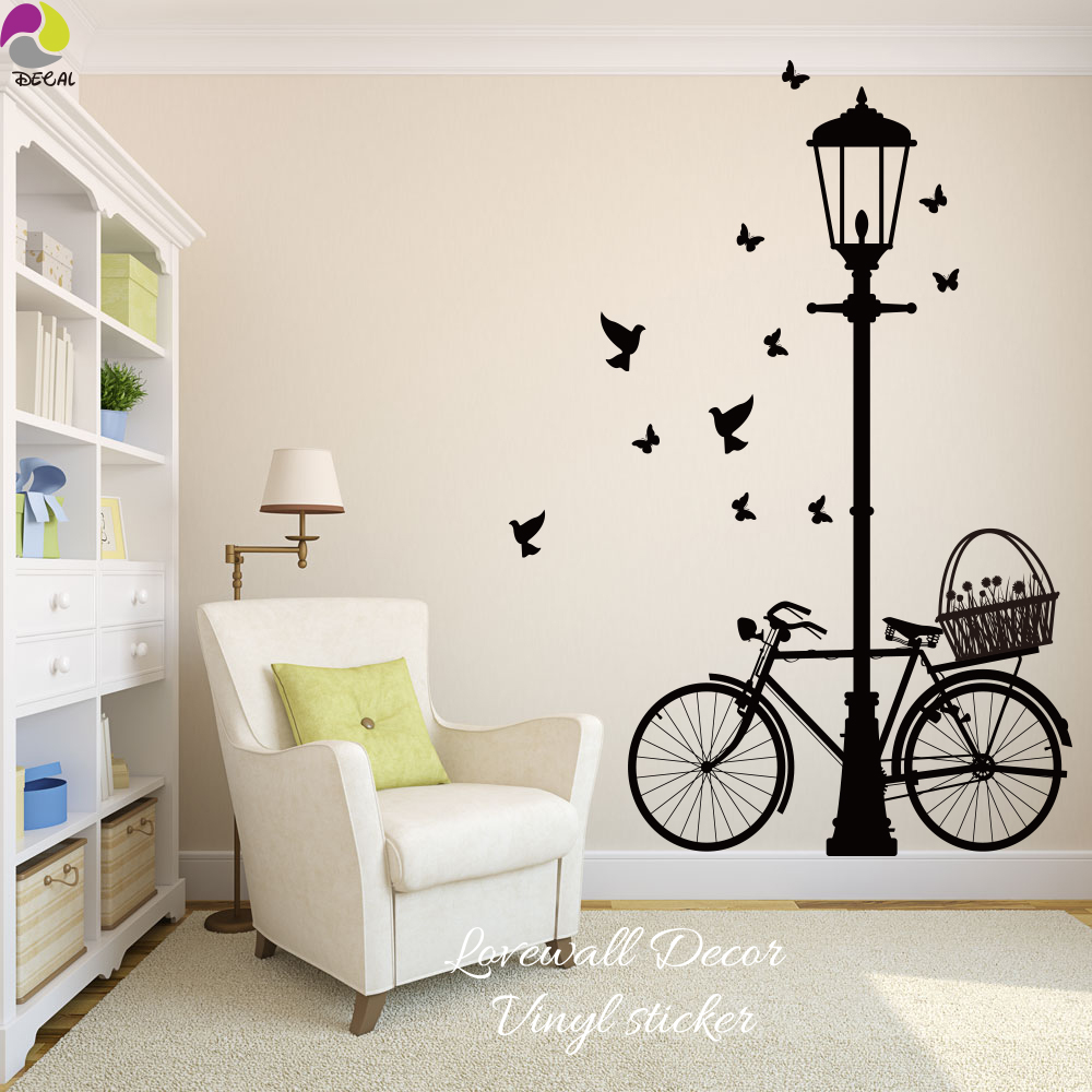 Street lamp bike wall sticker living room light bicycle bird street lamp bike wall sticker living room light bicycle bird butterflies wall decal bedroom baby nursery kids room vinyl decor in wall stickers from home amipublicfo Choice Image