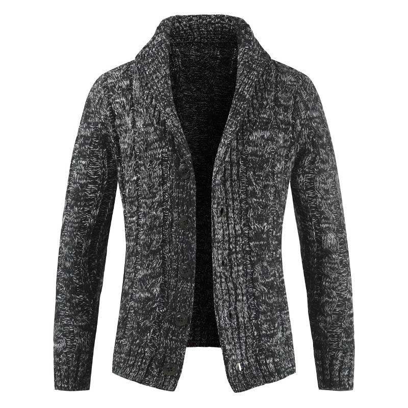 Autumn 2019 Stylish Men Knitted Cardigan Middle-Long Casual Slim Fit  Warm Solid Color Button Sweater Overcoat
