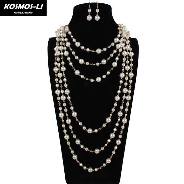 pearl jewelry trendy statement necklace plastic simulated pearl beads gold plate multilayer women fashion bridal jewelry 6320