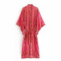 2018 Women Kimono Boho Vintage Floral Print Bow Tied New Fashion Cardigan V Neck Loose Ladies Blouses Casual Beach Kimonos