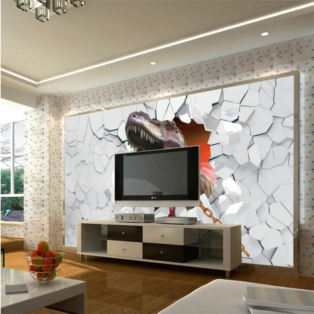 beibehang personnalis 3d papier peint 3d dinosaure murale tv fond salon chambre mur d coration. Black Bedroom Furniture Sets. Home Design Ideas
