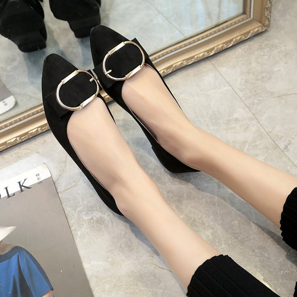 Fashion Women Suede Belt Buckle Flat Heel Pointed Toe Casual Shoes Luxury Brand Platform Shoes High Quality Summer Footwear women s shoes 2017 summer new fashion footwear women s air network flat shoes breathable comfortable casual shoes jdt103