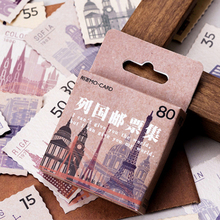 45 Pcs/box National stamps paper sticker DIY decoration stickers diary photo album scrapbooking planner label stickers vintage airplane stamps paper environmental stickers decorative diy travel notebook planner sticker scrapbooking