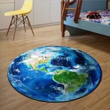 Круглый ковер, мягкие Противоскользящие коврики с 3D-принтом планеты Земля, коврик для компьютерного стула, напольный коврик для детской ком...