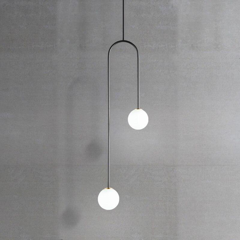 Nordic Post Modern Dining Room Bedroom G9 LED Glass Ball U Shaped Hanging Pendant Lights Bedside