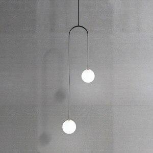북유럽 게시물 현대 식당 침실 g9 led 유리 공 u 모양의 교수형 펜 던 트 조명 머리맡 부엌 따뜻한 드 램프 비품