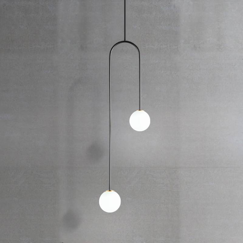 Nordic Post Modern Dining Room Bedroom G9 LED Glass Ball U Shaped Hanging Pendant Lights Bedside Kitchen Warm De Lamps Fixtures