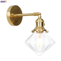 IWHD Copper Nordic LED Wall Lamp Post Modern Wandlamp LED Bedroom Wall Light Industiral Vanity Light Applique Murale Luminaire