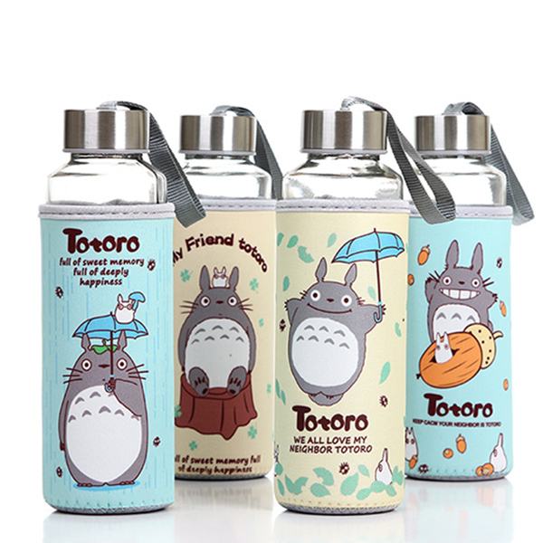 Totoro cloth cover glass cup cartoon sports portable glass 380ml
