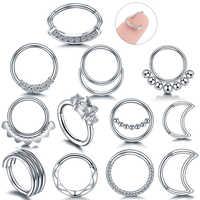 1PC Stahl Septum Piercing Klapp Segment Nase Ring 18G 16G Nase Piercings Septum Knorpel Tragus Clicker Körper piercing Schmuck