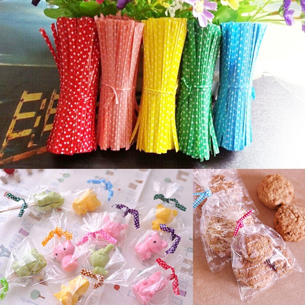 100 Pcs/pack Metallic Dot Twist Ties Wire Cello Bags Lollipop Pack Fastener Sealing For Cake Pops Candy Color