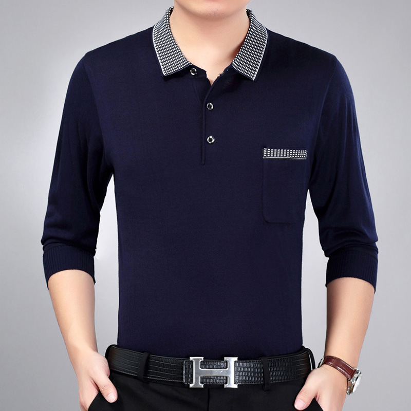 New Arrival 2018 Spring Men Solid Smart Casual Slim   Polos   Male Classic Jacquard Long sleeve Tops Clothing men 86-2