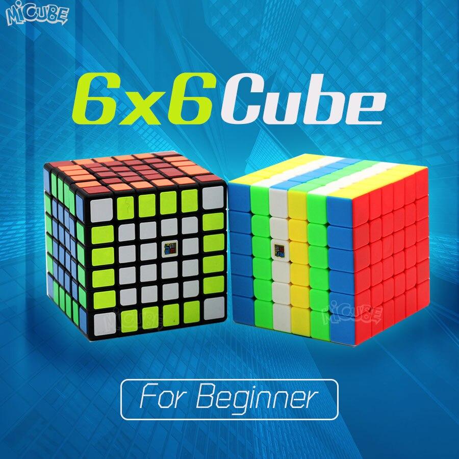 MofangJiaoshi MF6 6x6 Cube Speed 6 capas cubo negro sin costuras 68mm puzle cubo para niños Begginer 6x6 Cube juguete educativo