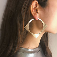 Classic Simple Gold Color Square Stud Earring For Women Metal Exaggerated Irregular Square Shiny Earring Jewelry Trendy Bohemian цена