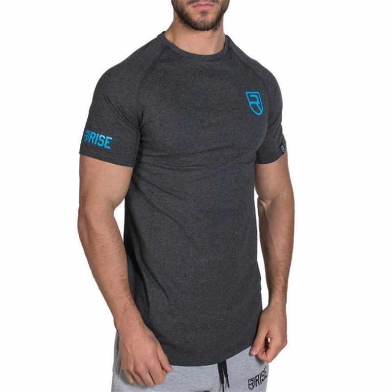 Nowy RISE Slim dopasowane t-shirty mężczyźni R drukuj siłownie t-shirty koszulka kompresyjna topy kulturystyka Fitness O-Neck t-shirty z krótkim rękawem