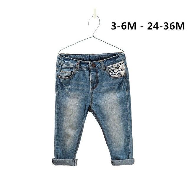 Новый бренд мода детская одежда детские девушки кружевные цветы джинсы 100% хлопка брюки бесплатная доставка размер : 3 м - 36 м