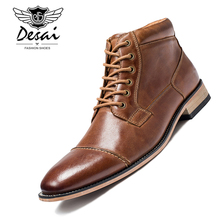 Buy 2019 Winter New Men's Casual High-Top Shoes Genuine Leather Boots High Boots Oxfords Men's Large Size Shoes 7.5-13 directly from merchant!