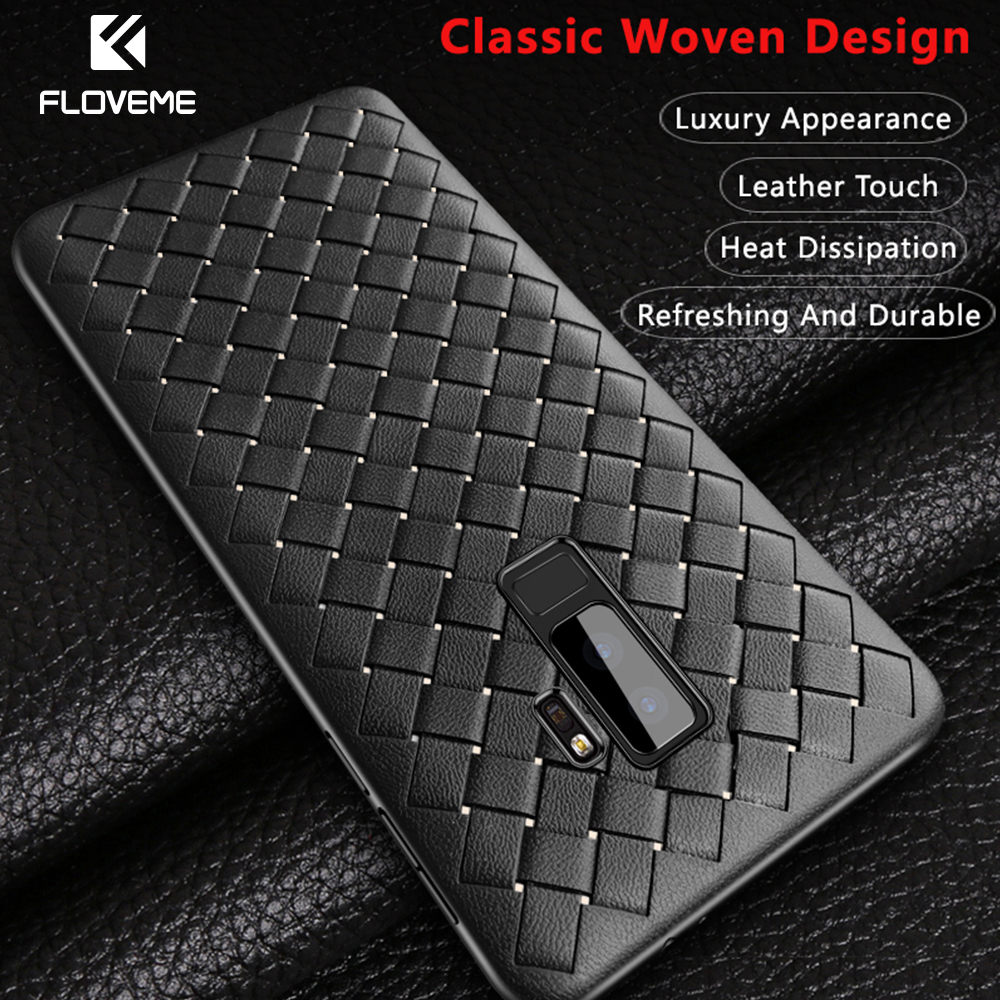 FLOVEME Luxury Grid Weaving Case For Samsung Galaxy S9 S9 Plus Soft Silicone TPU Case For Samsung S9 Plus Cover Accessories