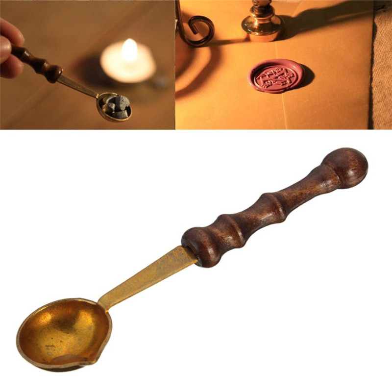 1PC Retro Anti-hot Stamp Seal Sealing Wax Brass Spoon Wooden Handle Seal Wax Heating Scoop Vintage Spoons drop shipping big copper spoon big large size stamp spoon vintage wooden handle brass spoon for sealing wax stamp wax stick spoon