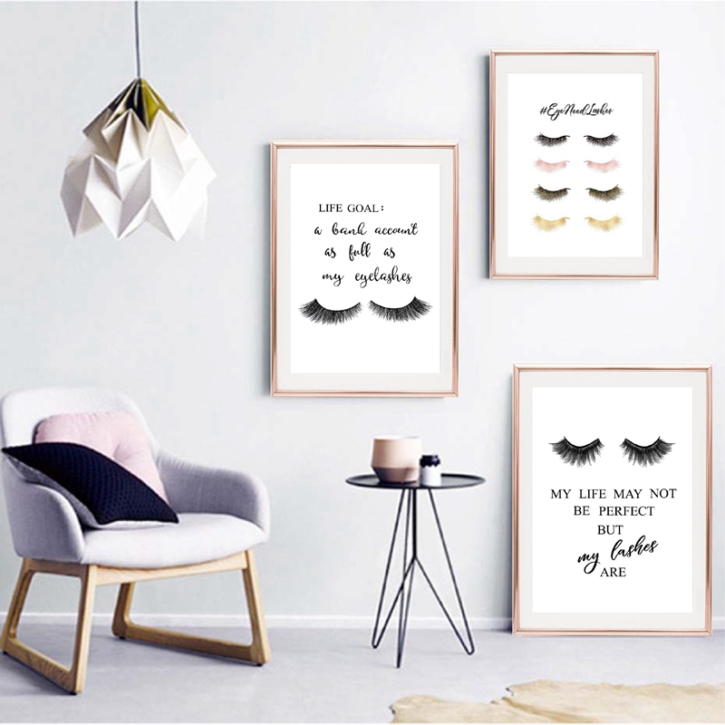 Lashes Makeup Quote Canvas Art Prints Poster Eyelashes Bundle  Canvas Painting Wall Picture For Salon Lashes Studio Decoration