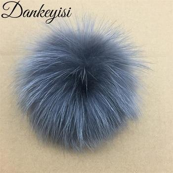 db8acb8f0f DANKEYISI Real piel pompones 15-16 cm DIY mapache y piel de zorro Pom bolas  naturales de piel de pompón para tapas bolsas bufanda Accesorios
