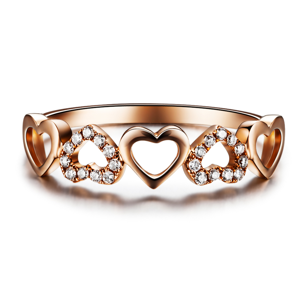 Heart Shape Diamond Bridal Ring GVBORI Diamond 18K Rose Gold