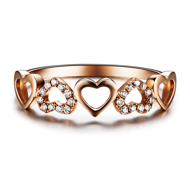 heart shape diamond bridal ring gvbori diamond 18k rose gold engagementwedding ring for - Heart Shaped Diamond Wedding Ring