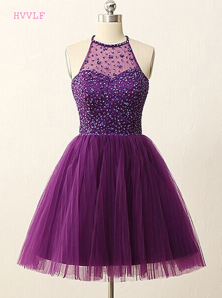 Purple 2019 Homecoming Dresses A line Halter Short Mini ...