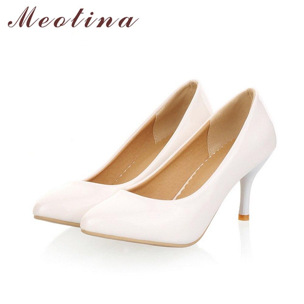 c6ef2d10 Zapatos Meotina zapatos de mujer tacones altos de aguja puntiagudos talla  grande 46 tacones altos delgados