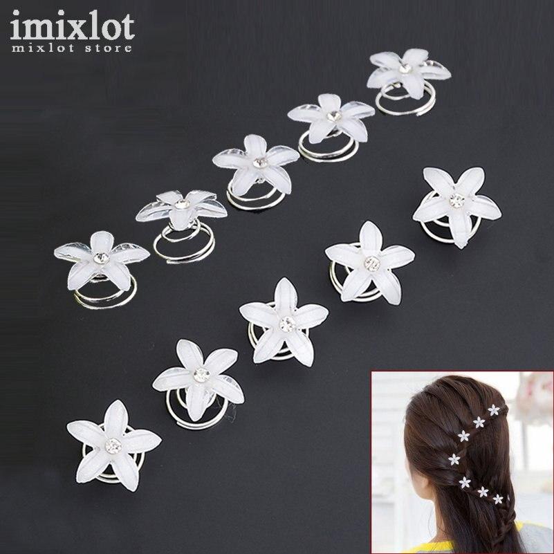 12pcs Crystal Flower Wedding Bridal Hair Spin Pins Twists Coils Five Petals Flower Swirl Spiral Hairpins Fashion Jewelry