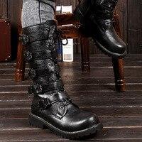 Осень-зима Для мужчин Панк Черный Ретро армейская Сапоги и ботинки для девочек мотоботы с ремешком и пряжкой высокие человек Сапоги и ботин...