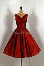 Moderne + Traditional Couture 1950er jahren Red Cocktailkleid Kurzen Frauen Vestidos De Coctel Freies Verschiffen JW096