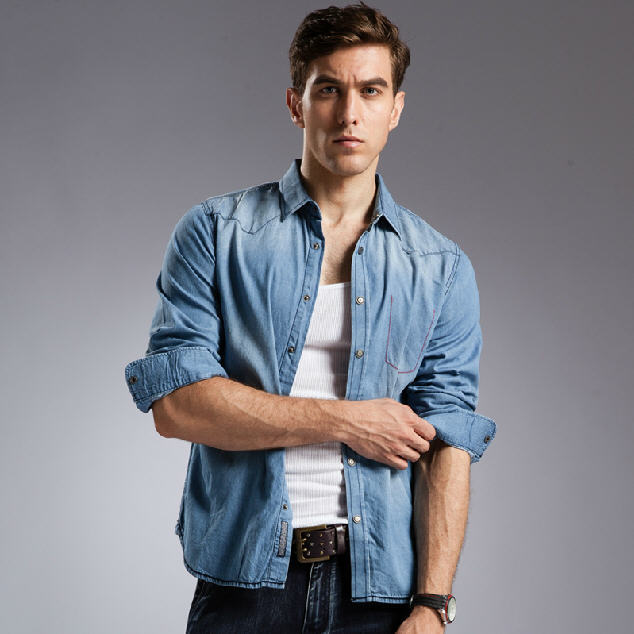 4d724f06c7 Blue Denim Shirt Men 100% Cotton Breathable Long Sleeve Mens Denim Shirt  Slim Fit High Quality Plus Size Jeans Shirt A690-in Casual Shirts from Men s  ...