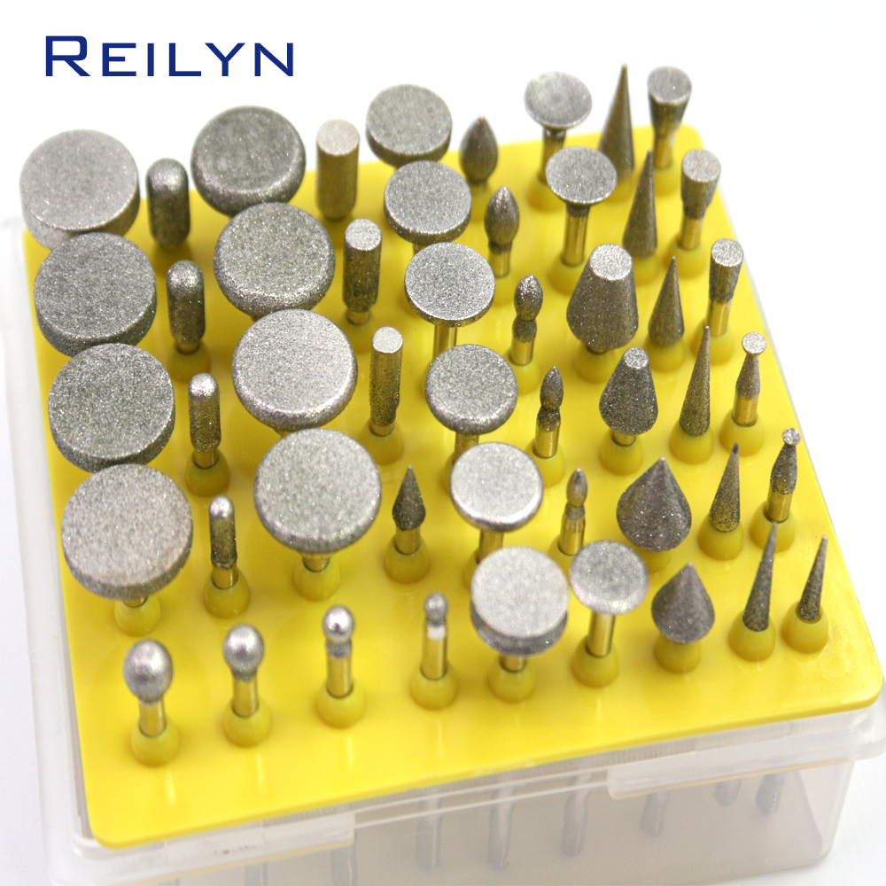 Diamond Grinding Bits 50 Pc/Set Electroplated Diamond Abrasive Bits Head Coated Abrasives Grinding Bur Dremel Rotary Tools