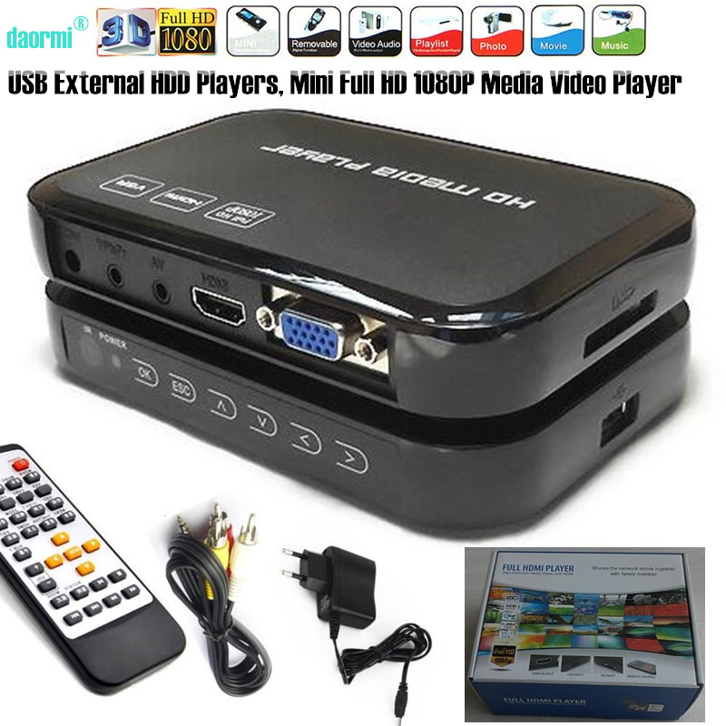 Mini Full HD 1080P USB External HDD Player With SD MMC U Disk Support MKV AVI HDMI Media Video Player IR Remote Blu ray Player